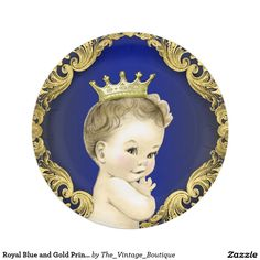 Royal Blue and Gold Prince Baby Shower 7 Inch Paper Plate