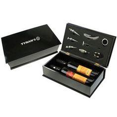 Wine Accessories Gift 8 pc - Wine Accessories Gift 8 pc Set in a black shiny…