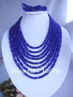 FreeShipping!!! 2013 New Royal Blue Crystal Beads Jewelry Handmade African Wedding Jewelry Necklace Bracelet  $28.07