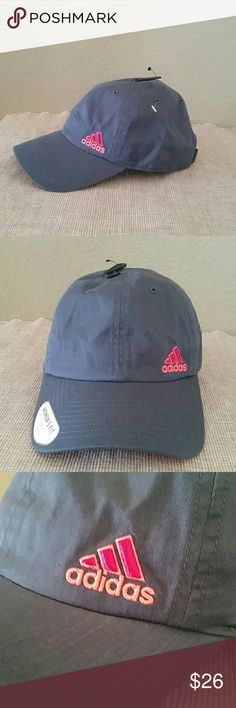 New Adidas athletic hat baseball cap active gray New women's fit Adidas hat, gray and pink, adjustable back closure Adidas Accessories Hats