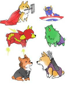 """""""Corgi-vengers"""" over at givenclarity is just too cute. I have to wonder how Corg-eye shoots those arrows, though."""