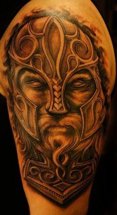 Viking Thor Hammer Tattoo by ~strangeris on deviantART Tattoo Thor, Thor Hammer Tattoo, Helmet Tattoo, Tattoo Bein, Norse Tattoo, Great Tattoos, Body Art Tattoos, Sleeve Tattoos, Portrait Tattoos