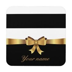 #monogram - #Personalized Gold Black Bold Stripes Golden BOW Beverage Coaster