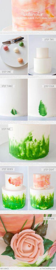 DIY Watercolor Cake Tutorial by Miso Bakes  |  TheCakeBlog.com