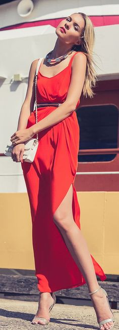 Split Maxi Red Dress Summer Streetstyle