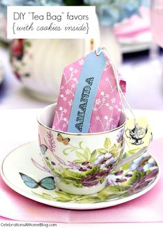 """These diy """"tea bag"""" favors are unique and so cute! They hold cookies inside."""
