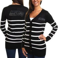 Cuce Seattle Seahawks Ladies The Quarterback Sweater - Black/White