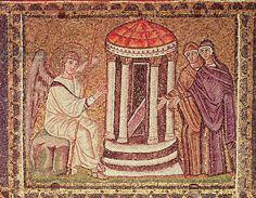 The Marys at the Tomb, Scenes from the Life of Christ (mosaic). Byzantine School, (6th century). Les saintes Maries au sepulcre; Sant'Apollinare Nuovo, Ravenna, Italy