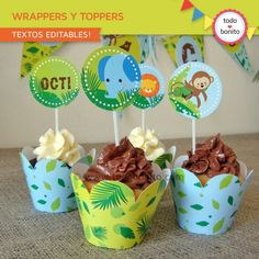 Selva: wrappers y toppers para cupcakes