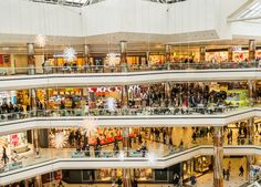 10 Most Amazing Shopping Malls in the World - Page 5 of 10 - EscapeHere Wave Pool, Shopping Malls, Amazing Shopping, Large Clock, Glass Roof, Atrium, Greek Islands, Department Store, Roller Coaster