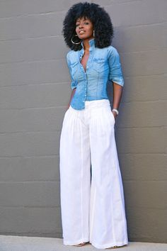 Style Pantry   Fitted Denim Shirt + Wide Leg Pants