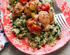 Pesto cauliflower rice (use a pesto that does not have cheese for vegan or paleo)