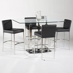 Found it at Wayfair - Cilla 5 Piece Rectangular Counter Height Dining Table Set Bar Height Dining Table, Dining Table In Kitchen, Dining Room Sets, Leather Counter Stools, Bar Stools, High Top Tables, Pub Table Sets, Bar Tables, Outside Furniture