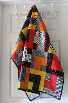 "Modern Baby Quilt ""William"" Contemporary Geometric Pattern in Red-Orange-Yellow;"