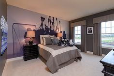 The prefect room for a lacrosse player! #BoysBedroom #lacrosse #ModelHome soccer or baseball instead of lacrosse!