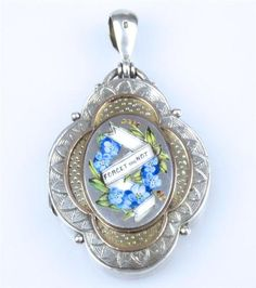 Antique Victorian Silver Gold Enamelled Forget Me not Engraved Picture Locket | eBay