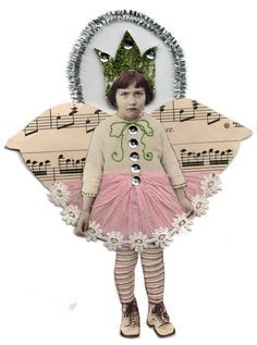 IsabellasCloset: ~My grumpy littlle Fairy altered art~ This one cracks me up Mixed Media Collage, Collage Art, Paper Dolls, Art Dolls, Paper Art, Paper Crafts, Diy Paper, Fairy Jars, Assemblage Art