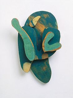 """yama-bato: Hans Arp Transformation of the relief head with a green nose """"1923/1964Wood relief"""