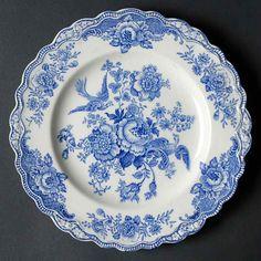 Crown Ducal Bristol Blue Bread & Butter Plate, Fine China Dinnerware Blue Flow on PopScreen Fine China Dinnerware, Blue Dinnerware, Vintage Dinnerware, Vintage Plates, Blue And White China, Blue China, White Dishes, Blue Pottery, Pottery Designs