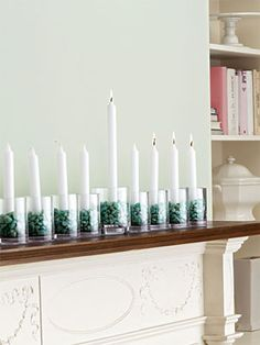 DIY votive Chanukah menorah decor from @goodhousekeeping www.themodernjewishwedding.com