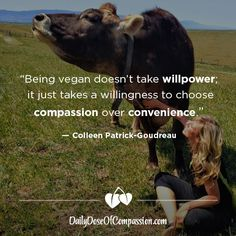 """Being vegan doesn't take willpower. It just takes a willingness to choose compassion over convenience"" - Colleen Patrick-Goudreau"