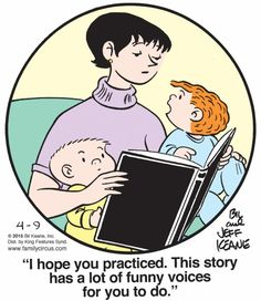 Family Circus by Bil & Jeff Keane-- April 9, 2015 -- The importance of dramatic reading / or reading with expression.