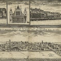 Plan and views of London before and after the Great Fire