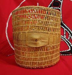 Traditional clam basket with a contemporary twist. Red cedar bark. Marlene Liddle www.cedarbarkweaverhaida.com