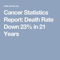 Cancer Statistics Report: Death Rate Down 23% in 21 Years