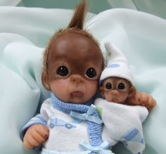 OOAK Baby Orangutan Monkey Boy Sculpted Polymer Clay Art Doll Teddy Bear #Unbranded