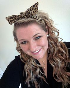 Cheetah Leopard Print Tie Top Knot 2 Headband Set by petesboutique