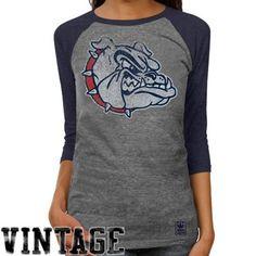 adidas Gonzaga Bulldogs Ladies Supersize Fan Raglan T-Shirt - Ash/Navy Blue