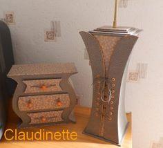 """Commode et pied de la lampe réalisés avec le papier PAPERTREE """"SAKURA"""" - Source : http://le-ptit-atelier-de-claudinette.kouaa-blog.com"""