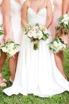 Peach Bridesmaid Dresses and Flowers