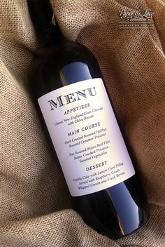 Great idea for Weddings or Dinner Parties - Wine Bottle Menu Labels