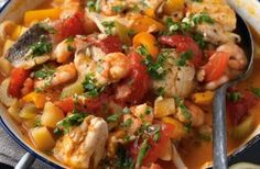 233 calories/6g fat per portion Potatoes, prawns, sea bass, tomatoes - this seafood stew is so full of lovely ingredients, you won't believe it's low-calorie! All simmered down in a rich paprika and cayenne pepper-flavoured sauce, this stew will make a lovely weekend treat for the whole family. Get the recipe: Seafood stew