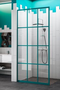 Gridscape Colorize Shower Screen in Keppel with Clear Glass Guest Bathrooms, Steam Showers Bathroom, Master Bathroom, Family Bathroom, Shower Bathroom, Bathroom Faucets, Small Bathroom, Toilette Design, Modern White Bathroom