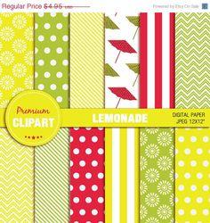50% OFF SALE Lemonade party paper, lemonade paper, scrapbook paper, digital paper, scrapbooking - PAP134 by PremiumClipart on Etsy