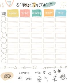 Pin by ・゚* 🎀 ɱყυɳɠʝυɳ'ʂ ϝʅσɯҽɾ 🎀 *゚・ on ー stickers ☽༓・*˚⁺‧͙ Timetable Template, Planner Template, Printable Planner, Daily Printable, Study Planner, Planner Book, Weekly Planner, Cute Notes, Good Notes