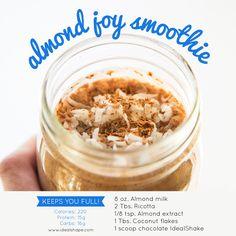 Almond Joy protein smoothie | idealshape.com #idealshape #smoothie #almondjoy…