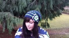 Women's Seattle Seahawks Slouchy Hat with Flower Option on Etsy, $20.00