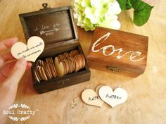 30 reasons I love you because ... Wooden Heart Message Rustic Gift Box Valentine Mothers Day Wedding Anniversary For Him For Her Gift This is a listing for 1 box with 30 heart shaped wooden tags. ~~~~~~~~~~~~~~~~~~~~~~~~ ---- ENGRAVING on wooden hearts ---- Please leave your detail upon checkout based on option selected for engraving : 1-side (name only) i) Name : e.g. Natalie OR Initial : e.g. A ❤ H 2-sides (name & msg) i) Name : e.g. Natalie OR Initial : e.g. A ❤ H ii) 30 messages....