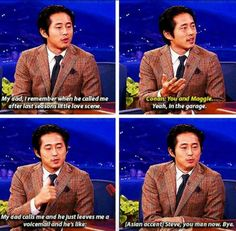 TV series The Walking Dead Steven Yeun lol humor funny pictures funny pics celebs Glenn The Walking Dead, The Walk Dead, Walking Dead Funny, Walking Dead Quotes, Walking Dead Zombies, Burns, Steven Yeun, Look Man, Interview