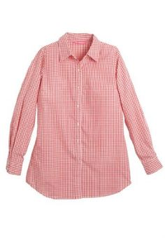 Woman Within Plus Size Petite Perfect Big Shirt (Sweet Coral Gingham,1X) Woman Within. $9.77. 3-button cuffs. shirttail hem. long sleeves. button front. shirt collar. Save 67%!