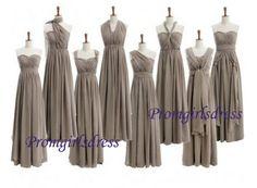 Grey Bridesmaid Dress Long Bridesmaid Dress by Promgirlsdress, $99.00
