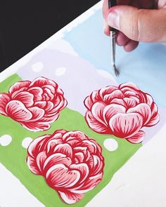 Painting Peonies by Philip Boelter - Art // Illustration - Art Sketches Gouache Painting, Fabric Painting, Painting & Drawing, Fabric Paint Shirt, Painting Process, Painting Videos, Acrylic Art, Art Techniques, Art Tutorials