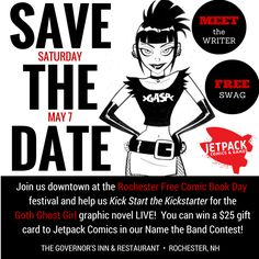 Join us at Jetpack Comics' Free Comic Book Day for the LIVE launch of our Kickstarter campaign for the official Goth Ghost Girl graphic novel. Enjoy free comics, live music, a downtown scavenger hunt, cosplay contest, and say hello to me.