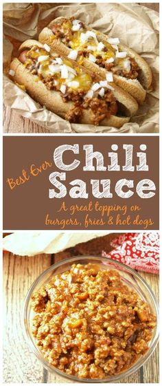 The chili sauce the hot dog vendors make is always so delicious but you just can't get that same flavor from a can. Best Ever Chili Sauce. a great topping on burgers, fries and hot dogs. Dog Recipes, Chili Recipes, Sauce Recipes, Cooking Recipes, Cooking Corn, Chilli Hot Dog, Hot Dog Chili Sauce Recipe, Chilli Cheese Dogs, Chili Cheese Fries