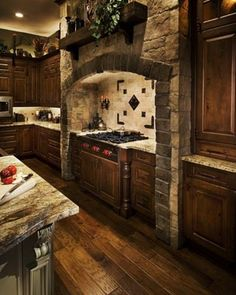 kitchen cabinets and stone