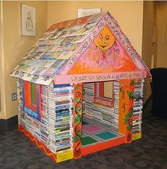 Fort for kids made out of old books. Cool idea.